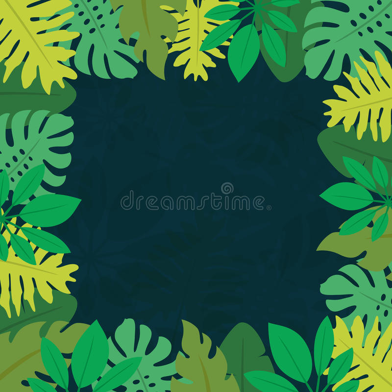 Рамка 1 тропических листьев иллюстрация штока