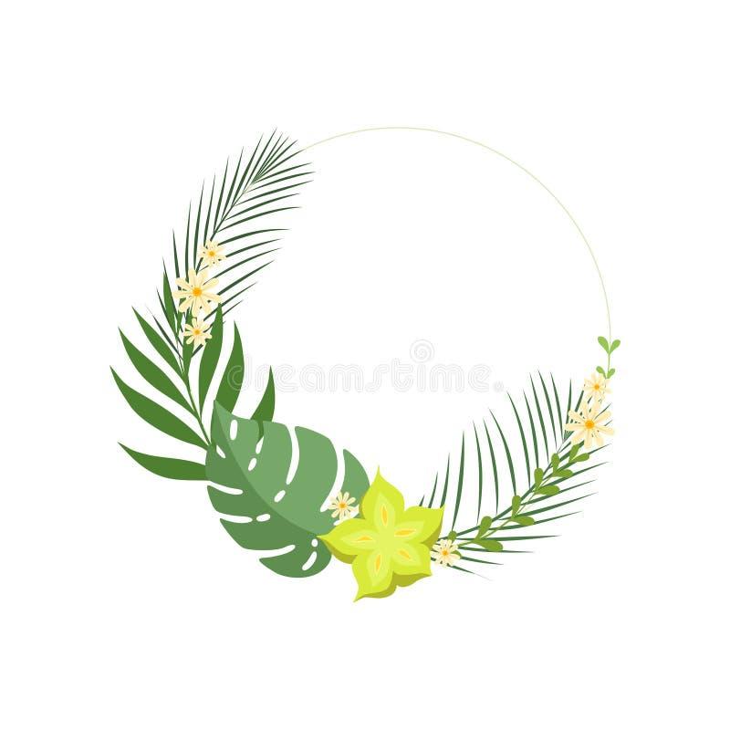 Рамка ультрамодных листьев лета тропических элегантная с местом для вашего текста, знаменем, плакатом, приглашением свадьбы, позд иллюстрация вектора