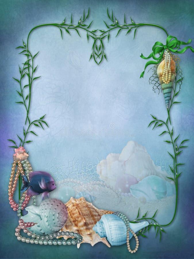 Рамка фантазии с раковинами и рыбами иллюстрация вектора