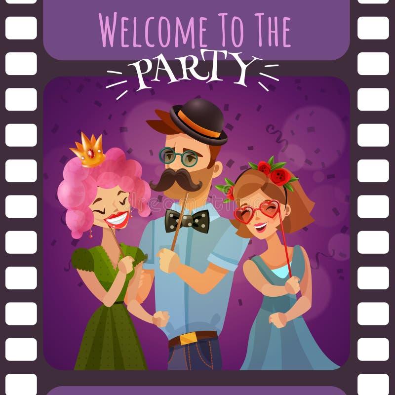 Рамка фотографического фильма с приглашением партии бесплатная иллюстрация