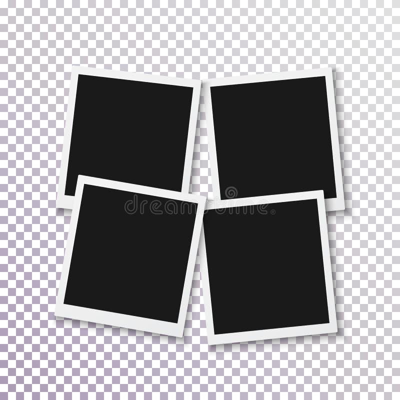 Рамка фото вектора немедленная Шаблон фотоснимка реалистической рамки фото быстрый Ретро квадратное немедленное фото поколоченный иллюстрация штока