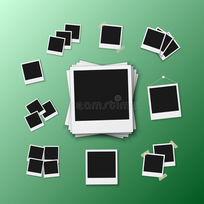 Рамка фото вектора Фото реалистического снимка современное Немедленное изображение бумаги Photoframe альбома Поляроидный модель-м иллюстрация штока