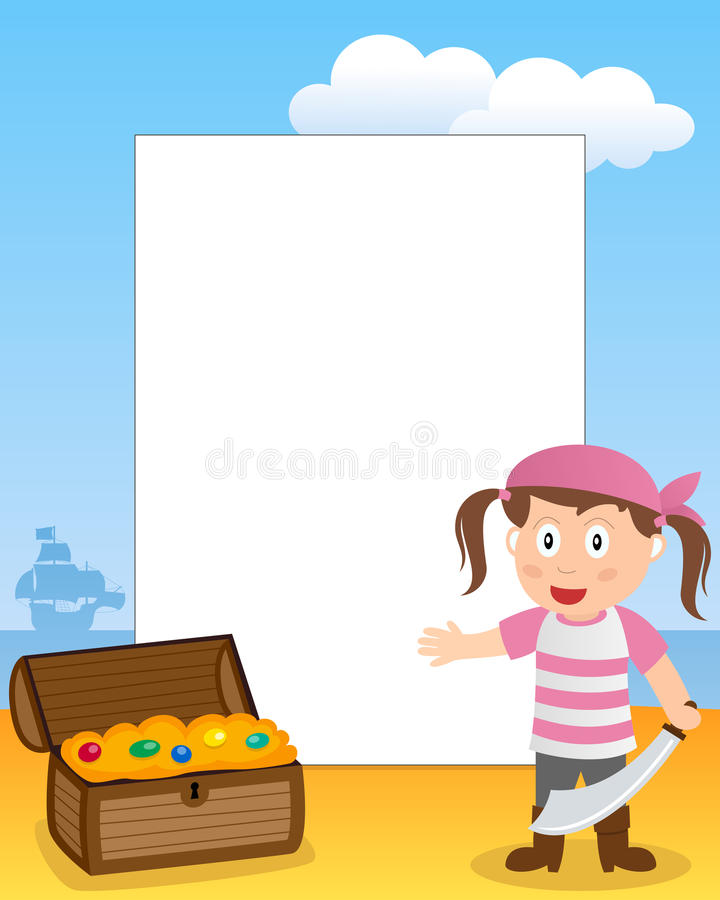 Рамка фото девушки пирата иллюстрация вектора