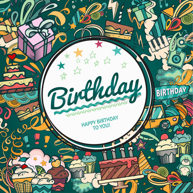 Рамка фото дня рождения иллюстрация вектора