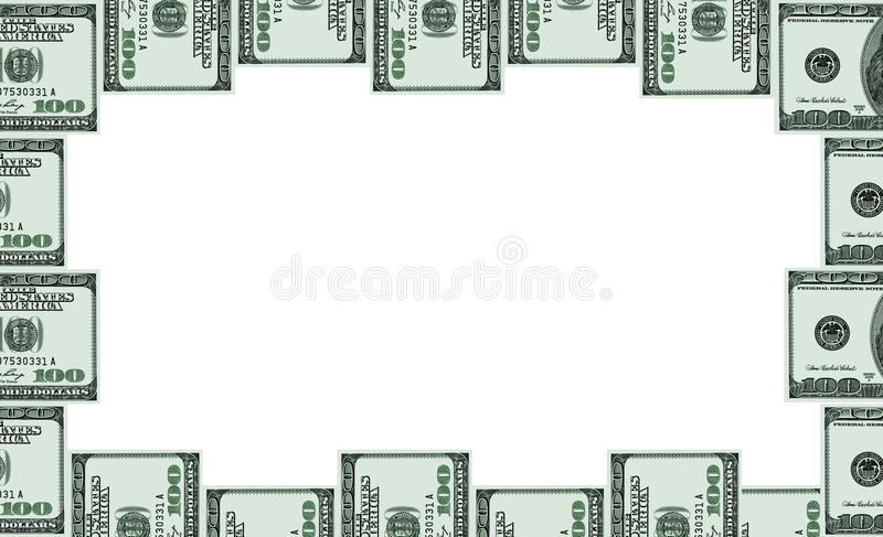Рамка фото от 100 примечаний доллара иллюстрация штока