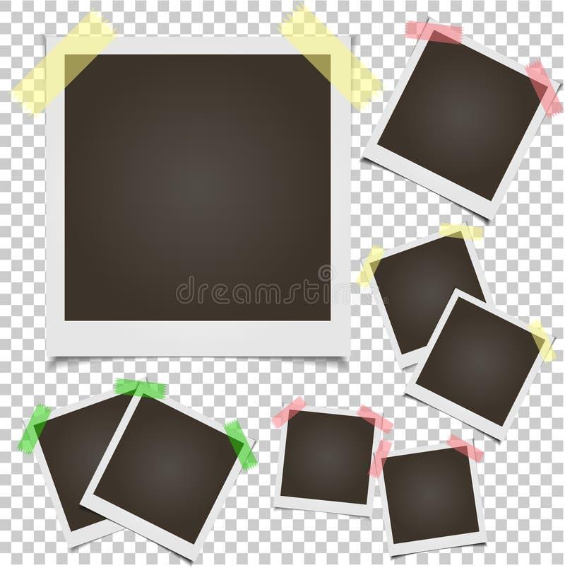 Рамка фото пустого комплекта поляроидная на прозрачной предпосылке иллюстрация вектора