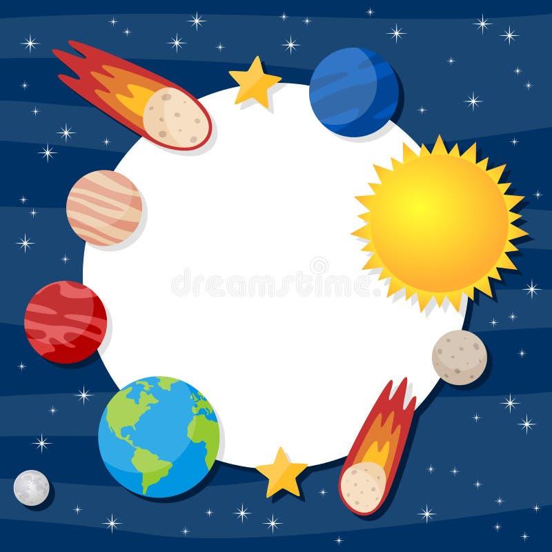 Рамка фото планет солнечной системы иллюстрация вектора