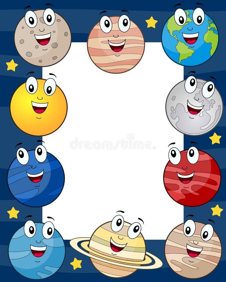 Рамка фото планет шаржа вертикальная иллюстрация штока