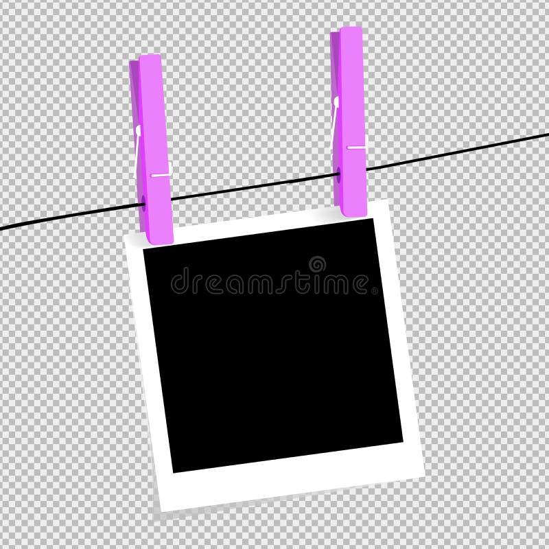 Рамка фото со штырем тени на щипке Фото фото реалистического квадрата пробела черно-белое изолировано на прозрачной предпосылке иллюстрация штока