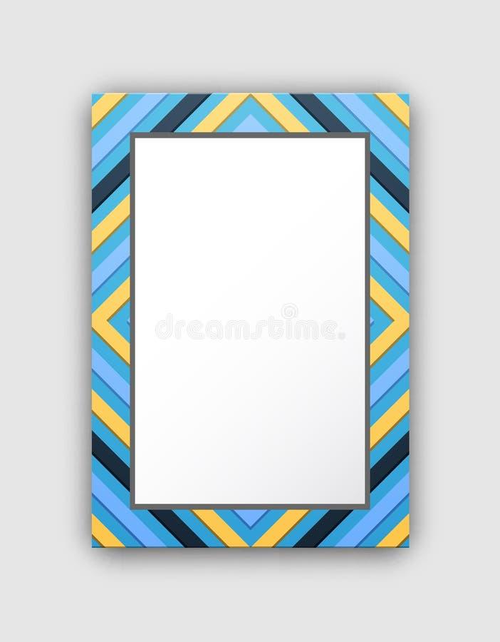 Рамка фото с голубой границей и абстрактными диаграммами иллюстрация штока