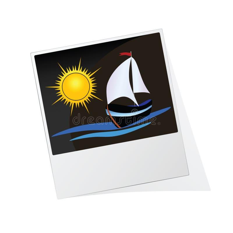 Рамка фото с солнцем и шлюпкой иллюстрация штока