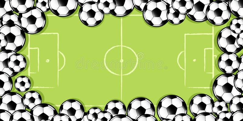 Рамка футбольных мячей на тангаже футбола иллюстрация вектора