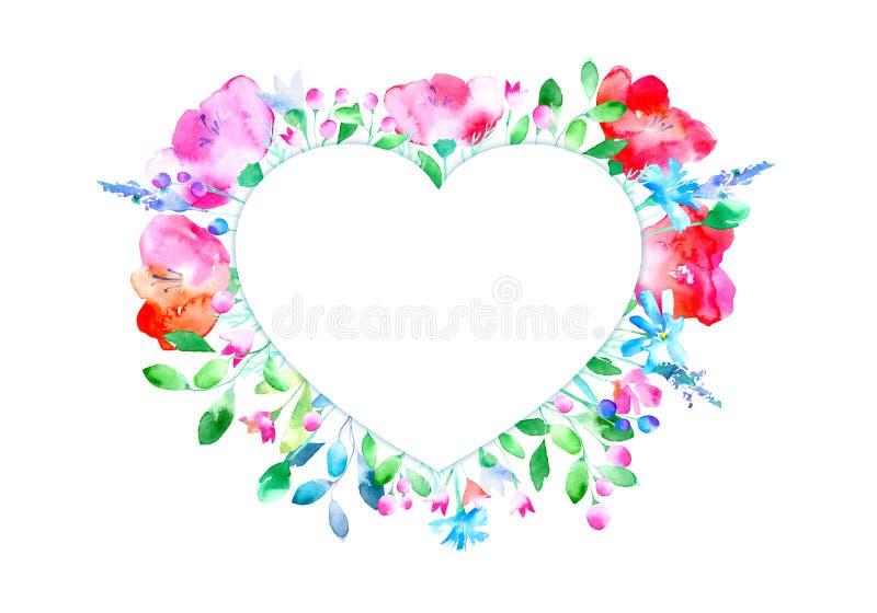 Рамка флористического сердца иллюстрация штока