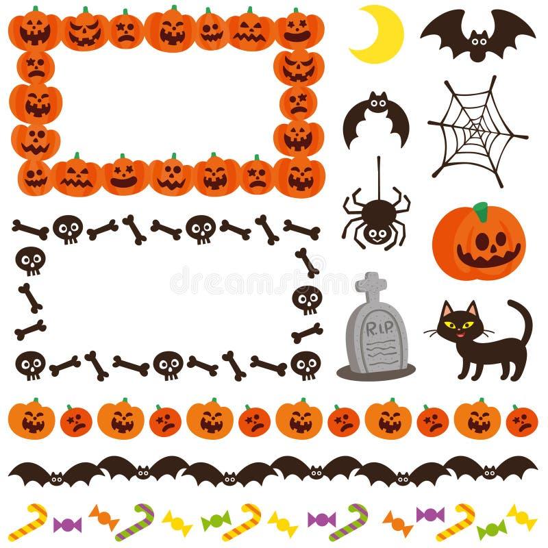 Рамка хеллоуина милая украшенная иконы Комплект символов бесплатная иллюстрация