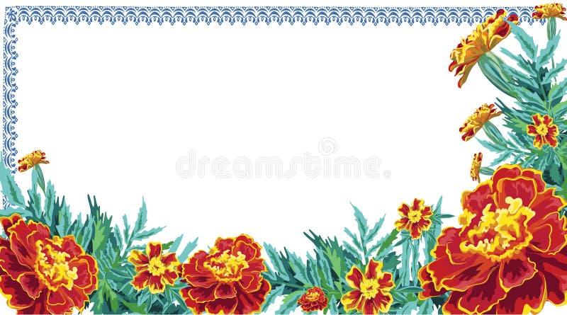 Рамка цветет скатерть ноготк иллюстрация вектора