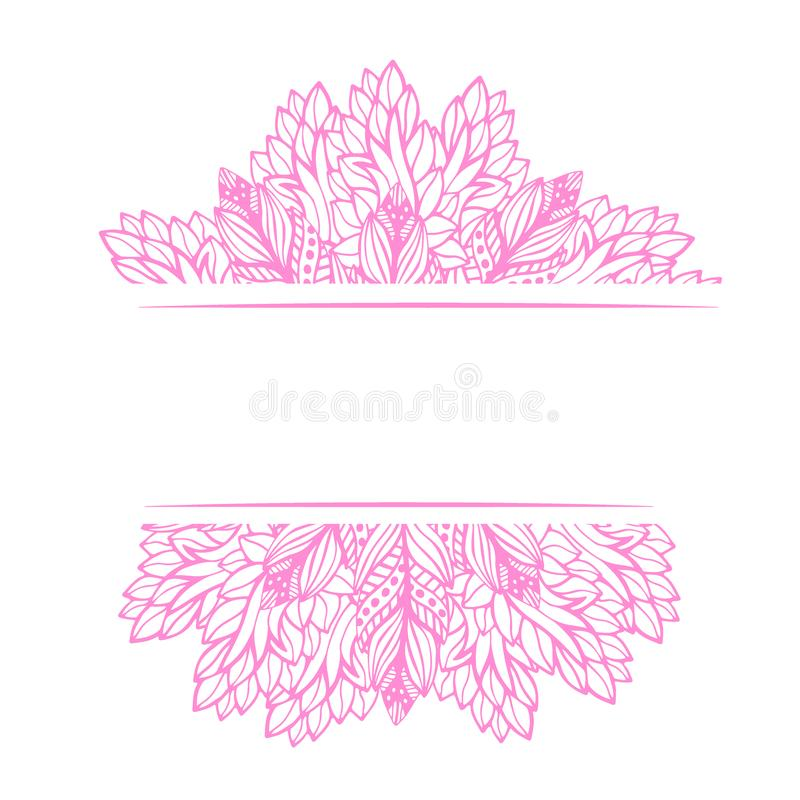 Рамка цветка абстрактная орнаментальная Украшение дизайна вектора Printable печать искусства Знамя шнурка иллюстрация вектора
