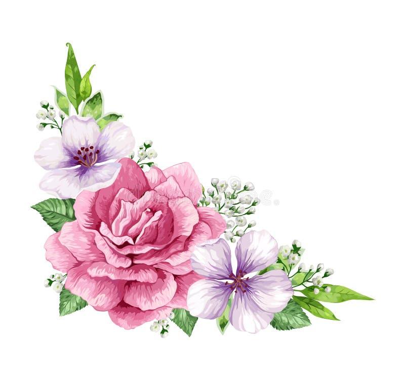 Рамка цветка в стиле акварели изолированная на белой предпосылке шаблон приглашения карточки Квадратный состав место бесплатная иллюстрация