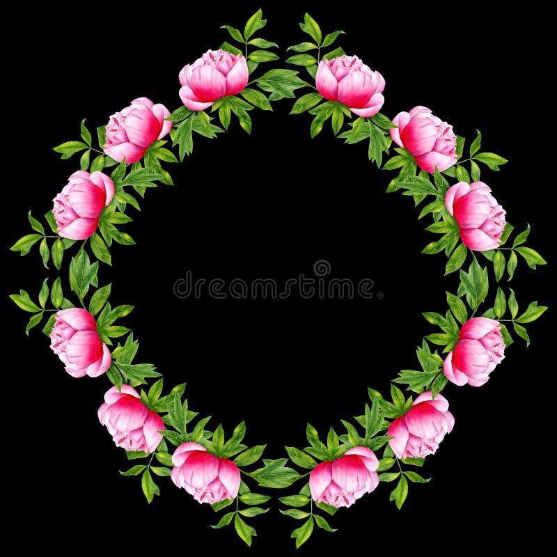 Рамка цветка пиона акварели круглая Рука покрасила венок изолированный на черной предпосылке Художественное произведение флористи бесплатная иллюстрация