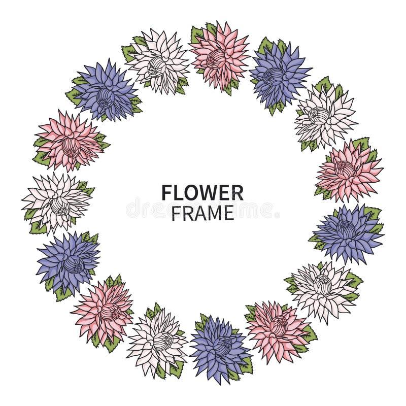 Рамка цветка хризантемы Флористическая печать венка для поздравительной открытки и приглашения Красивый букет с астрами венчание иллюстрация вектора