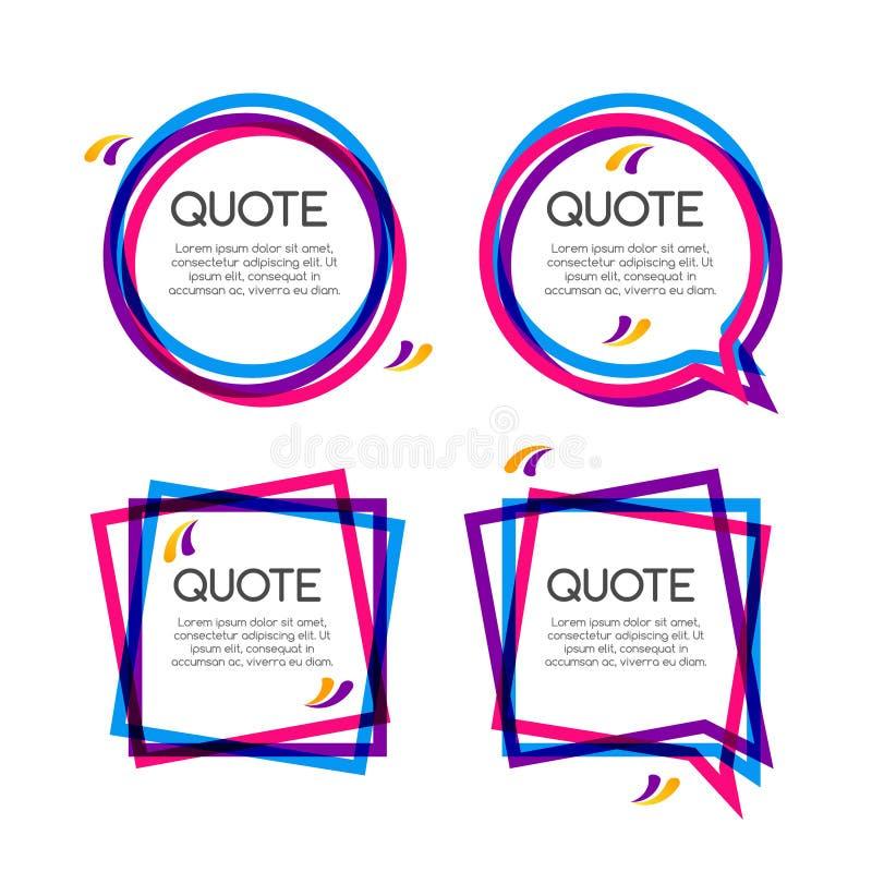 Рамка цитаты вектора установленная, красочные рамки цитаты для современного дизайна иллюстрация вектора