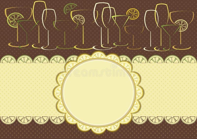Рамка цитруса с стеклами бесплатная иллюстрация