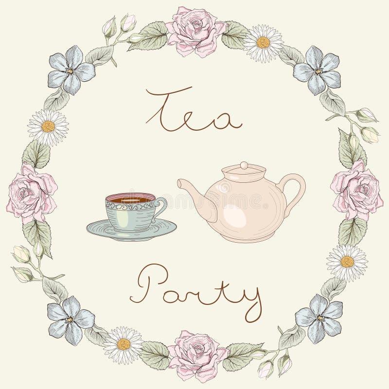 Рамка чаепития флористическая бесплатная иллюстрация