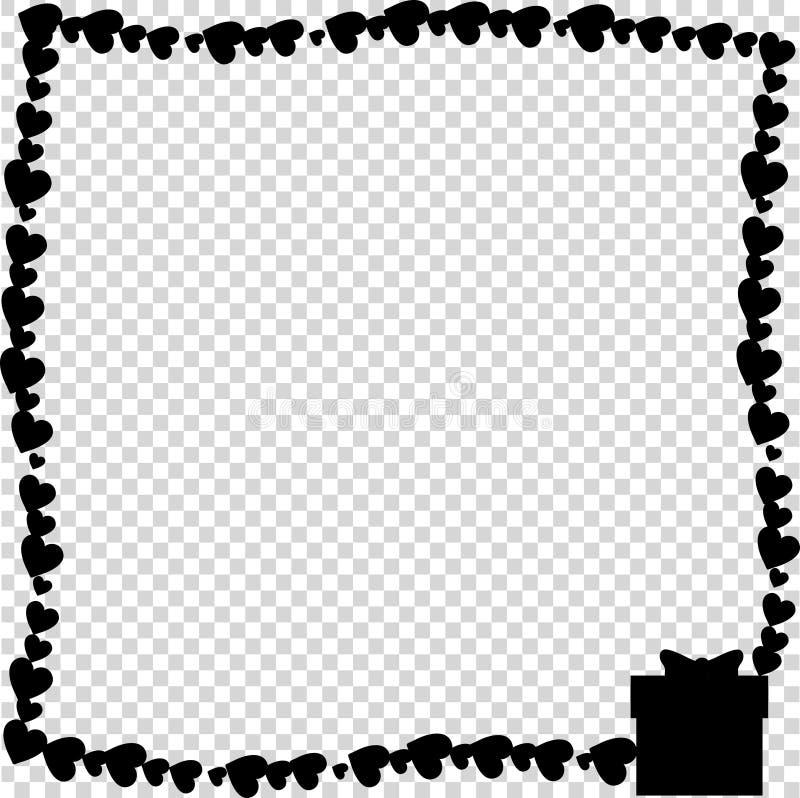 Рамка черноты вектора ретро сделанная сердец с присутствующим силуэтом коробки в угле бесплатная иллюстрация
