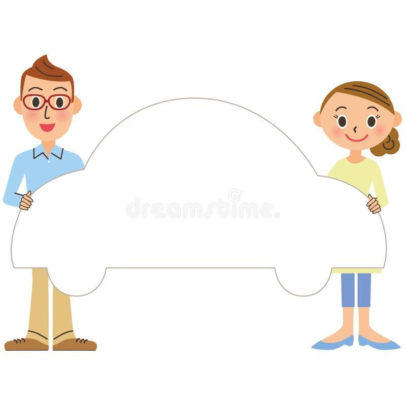 Рамка человека и женщины и автомобиля иллюстрация штока