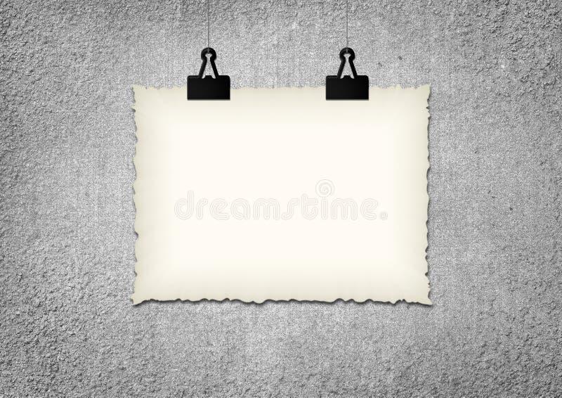 Рамка чистого листа бумаги повиснула зажимом на предпосылке стены grunge иллюстрация вектора