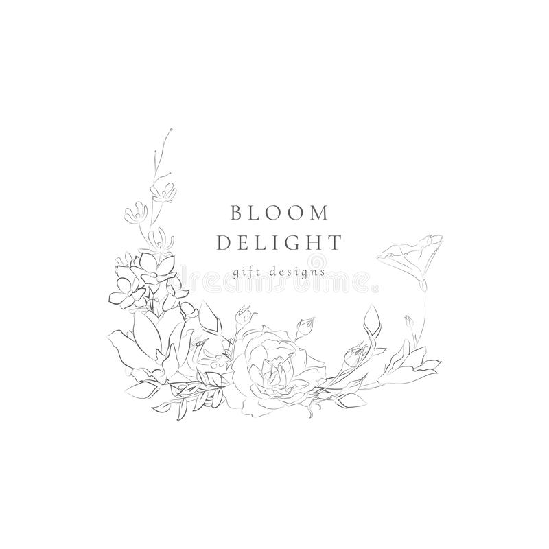 Рамка шаблона логотипа бренда вектора Floristic женственная иллюстрация штока
