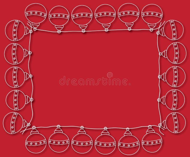 Рамка шариков рождества на красной предпосылке бесплатная иллюстрация