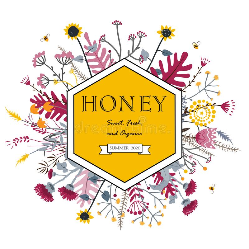 Рамка шестиугольника с милыми цветками и пчелами меда E Концепция меда Grasslend иллюстрация штока