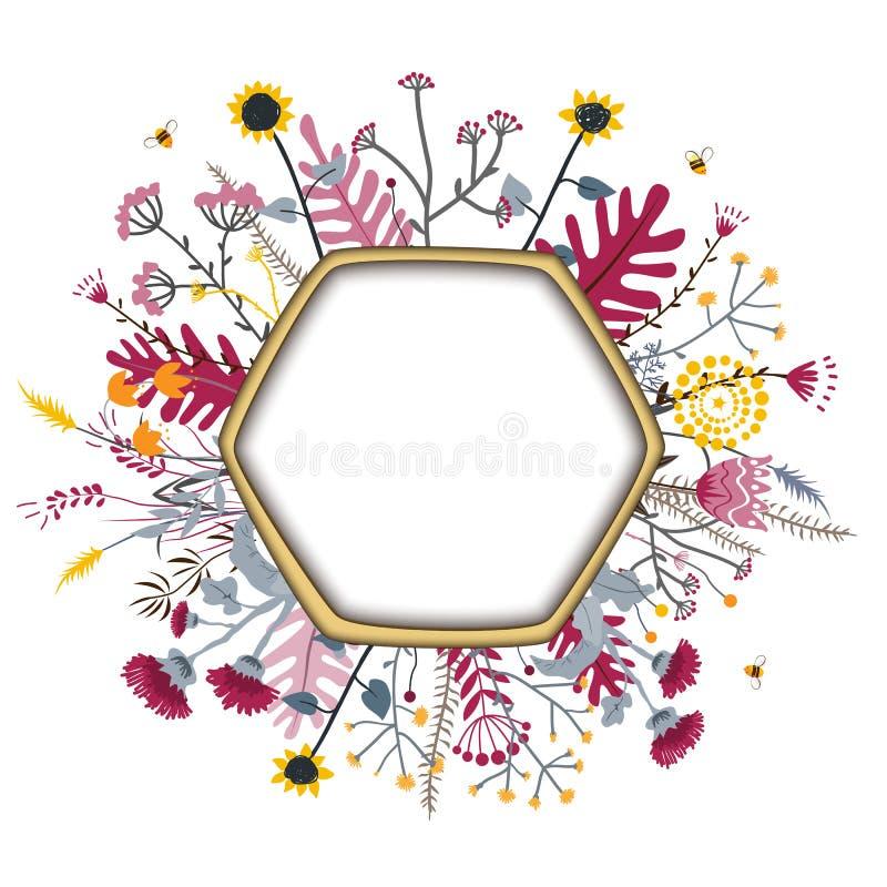 Рамка шестиугольника с милыми цветками и пчелами меда E Концепция меда Grasslend бесплатная иллюстрация