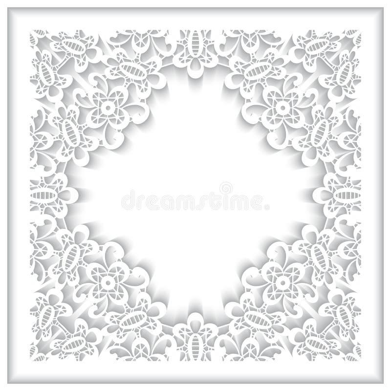 Рамка шнурка белой бумаги иллюстрация штока