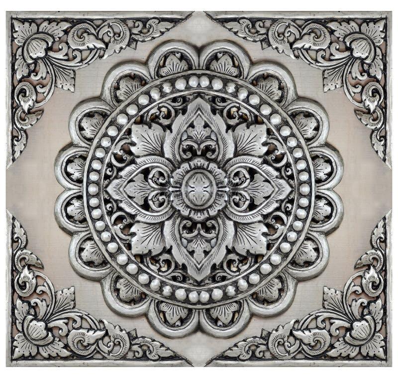 Рамка элементов орнамента, винтажное серебряное флористическое стоковая фотография rf