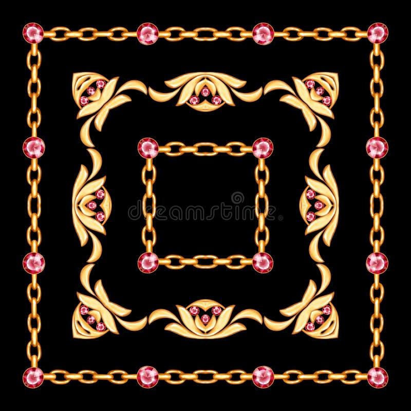 Рамка ювелирных изделий с золотой цепью на черной предпосылке бесплатная иллюстрация