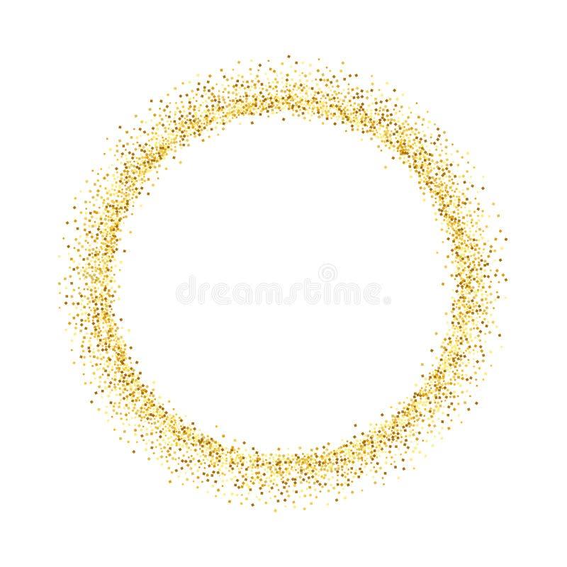 Рамка яркого блеска круга золота Золотой confetti ставит точки кругом на белой предпосылке Яркая картина текстуры для рождества бесплатная иллюстрация
