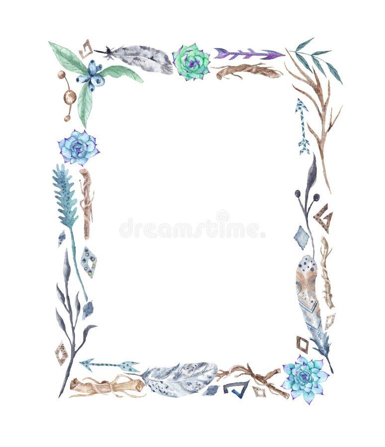 Рамка Boho акварели племенная с пер и цветками иллюстрация штока