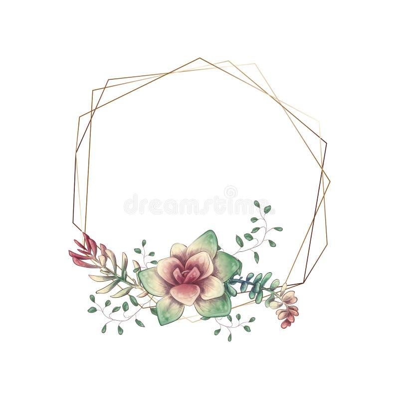 Рамка colorfiull свадьбы с суккулентным и кактусами вектор бесплатная иллюстрация