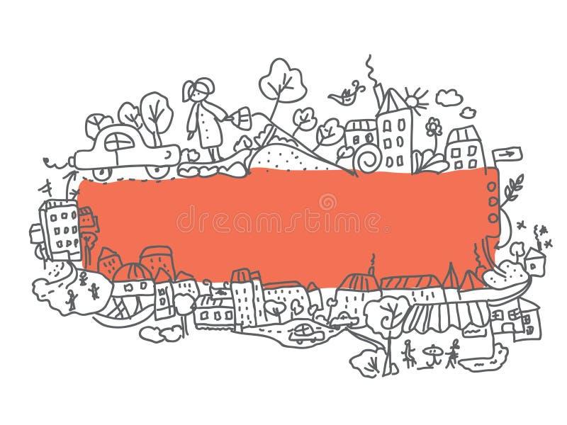 рамка doodle конструкции города иллюстрация штока