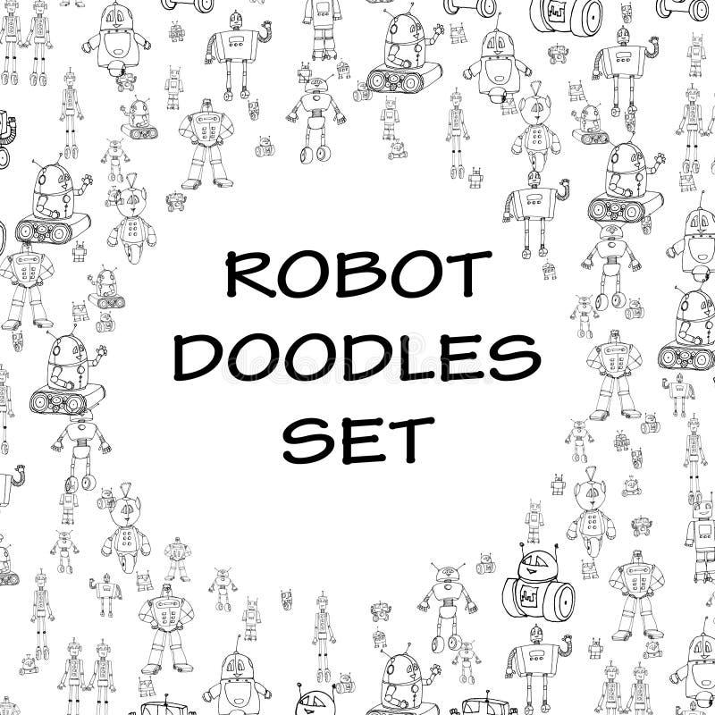 Рамка doodle робота бесплатная иллюстрация