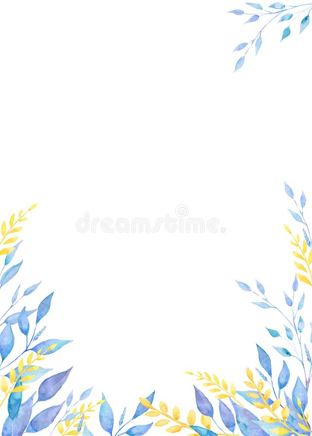 Рамка Handpainted акварели флористическая с листьями бесплатная иллюстрация