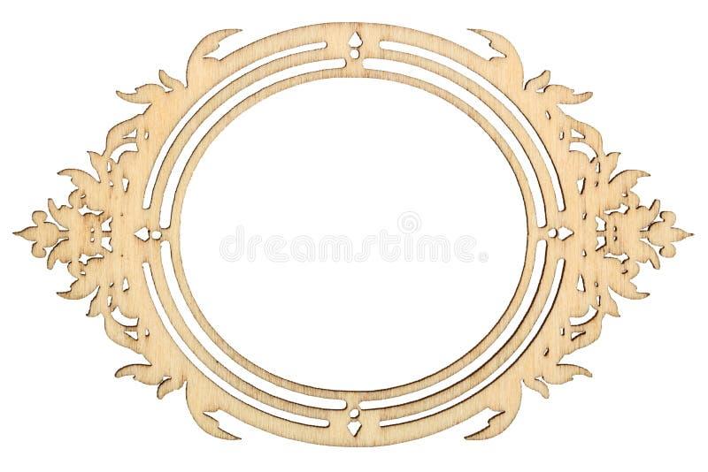Рамка Woodenl изолированная на белой предпосылке стоковые фотографии rf