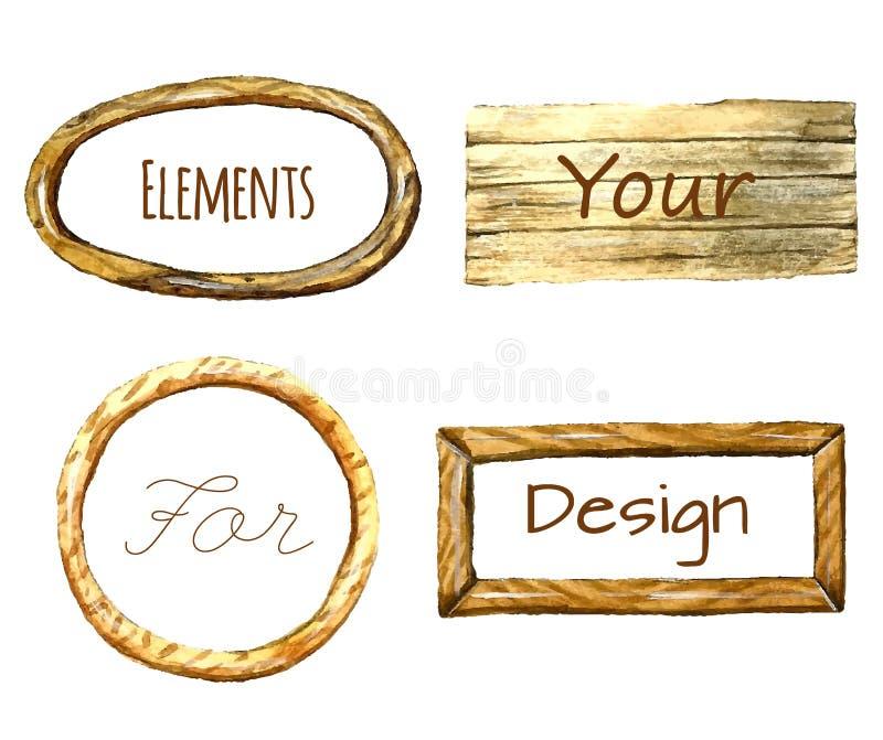 Рамки акварели с деревянной текстурой иллюстрация вектора