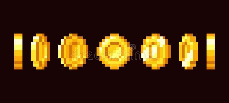 Рамки анимации золотой монетки для видеоигры 16 битов ретро Комплект вектора искусства пиксела иллюстрация вектора