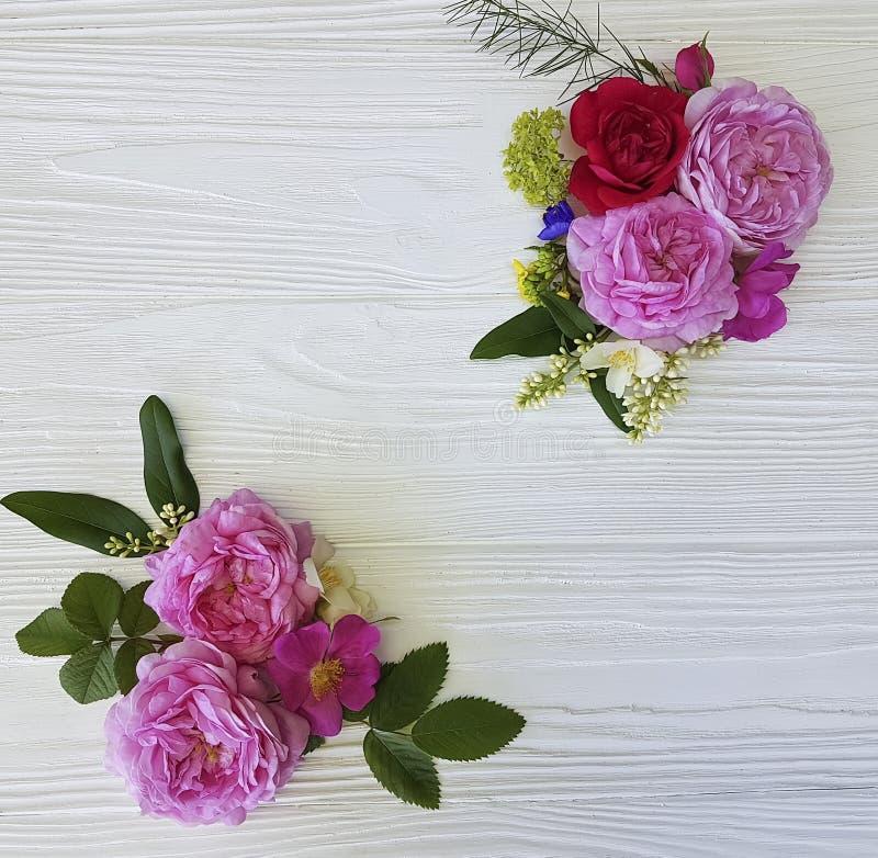 Рамки букета роз праздничное красивой романтичное на белой деревянной предпосылке бесплатная иллюстрация