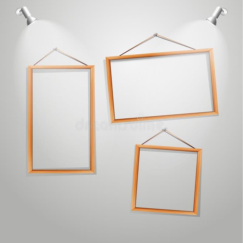 Рамки вектора деревянные на стене бесплатная иллюстрация