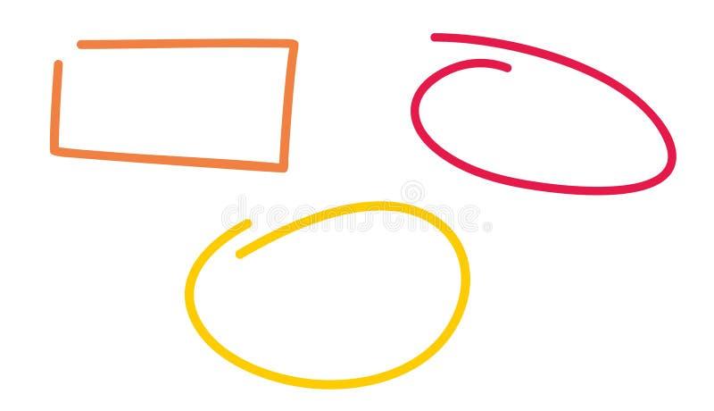 Рамки вектора Doodle изолированные на белой предпосылке иллюстрация штока