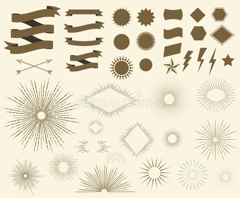 Рамки взрыва солнца стиля Арт Деко винтажные иллюстрация штока
