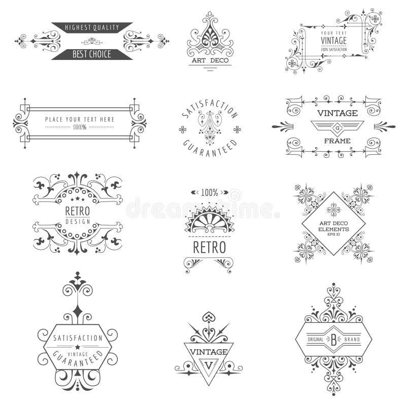 Рамки года сбора винограда стиля Арт Деко иллюстрация вектора